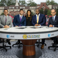 SEC Nation (Georgia 2014): Joe Tessitore, Tim Tebow, Kaylee Hartung, Marcus Spears and Paul Finebaum on the set of SEC Nation (Photo by Richard Ducree / ESPN Images)