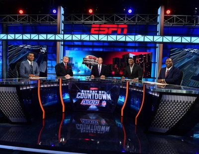 Bristol, CT - August 24, 2015: Cris Carter, Mike Ditka, Chris Berman, Keyshawn Johnson and Tom Jackson on the set of Sunday NFL Countdown (Photo by Joe Faraoni / ESPN Images)