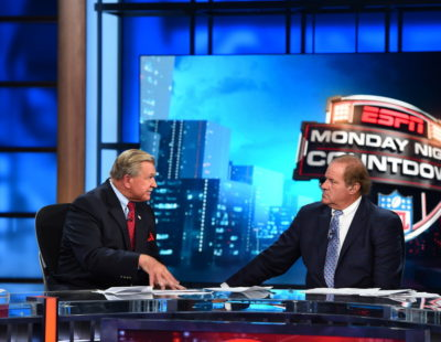 Bristol, CT - August 24, 2015: Mike Ditka and Chris Berman on the set of Monday Night Countdown (Photo by Joe Faraoni / ESPN Images)