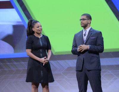 New York, NY - May 17, 2016 - Minskoff Theatre: Jemele Hill and Michael Smith during the 2016 ESPN Upfront event (Photo by Lorenzo Bevilaqua / ESPN Images)