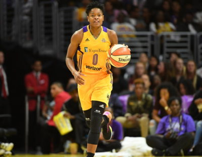 Los Angeles, CA - September 16, 2016 - Staples Center: Alana Beard (0) of the Los Angeles Sparks during a regular season game (Photo by Scott Clarke / ESPN Images)