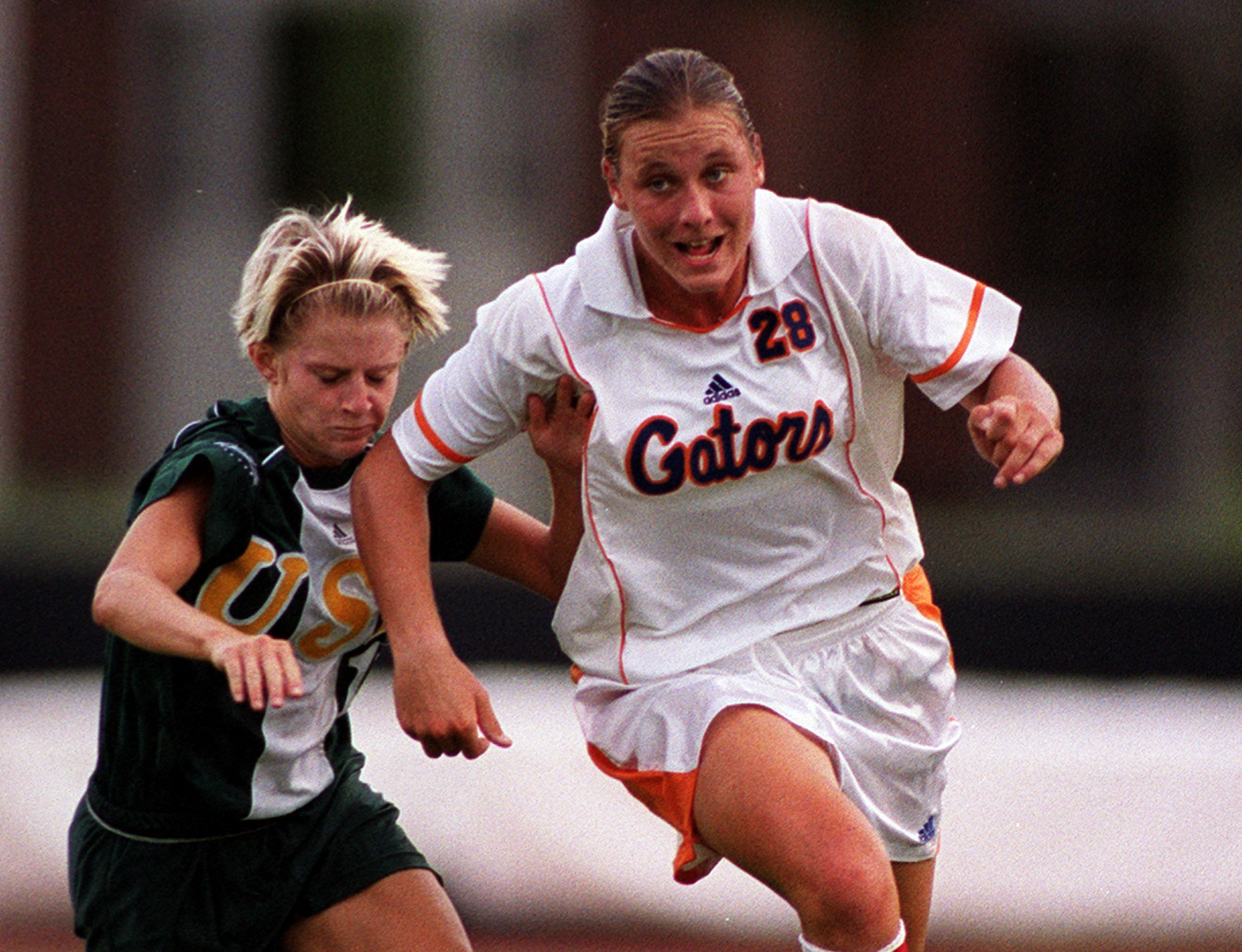 Abby Wambach, right, while playing for the University of Florida.
