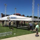 SEC Nation set being constructed on the South Carolina campus prior to its debut show on August 28 at 4 p.m. ET.