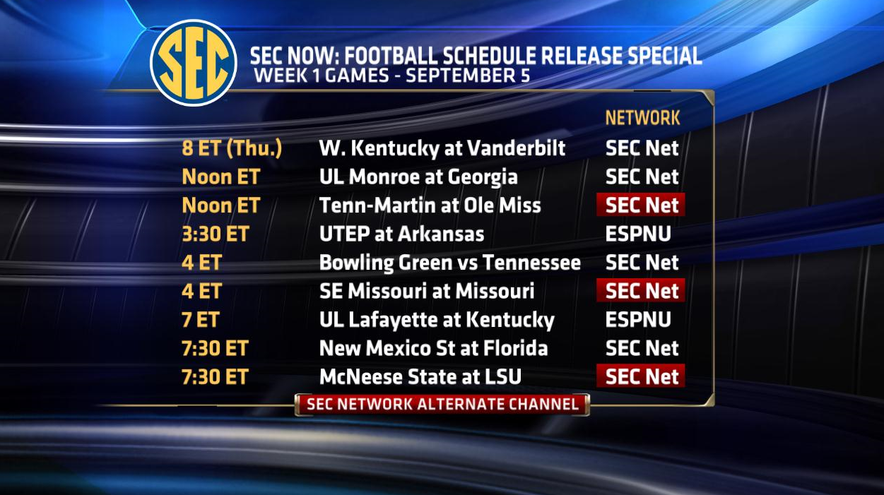 32 Sec Football Games Scheduled Across Espn Networks