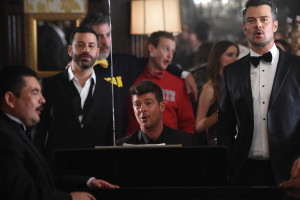 Los Angeles, CA - October 9, 2015: New Years Eve Party with Robin Thicke and Josh Duhamel in the 2015 College Football Playoff Campaign Shoot (Photo by Scott Clarke / ESPN Images)