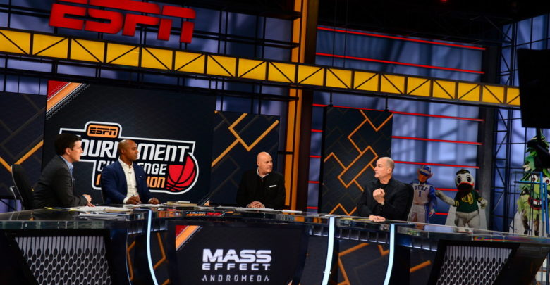 Bristol, CT - March 13, 2017 - Studio W: Rece Davis (l), Jay Williams, Seth Greenberg and Jay Bilas during the 2017 Tournament Challenge Marathon