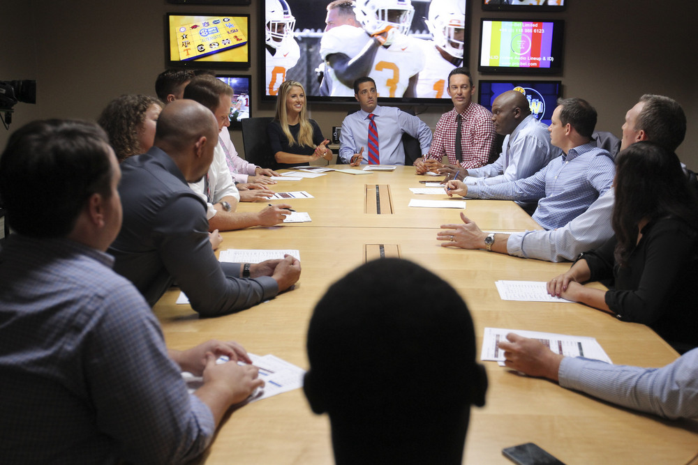Charlotte, NC - July 29, 2016 - Frenette Building: Laura Rutledge, Dari Nowkhah and Peter Burns in a production meeting of SEC Now (Photo by Travis Bell / ESPN Images)