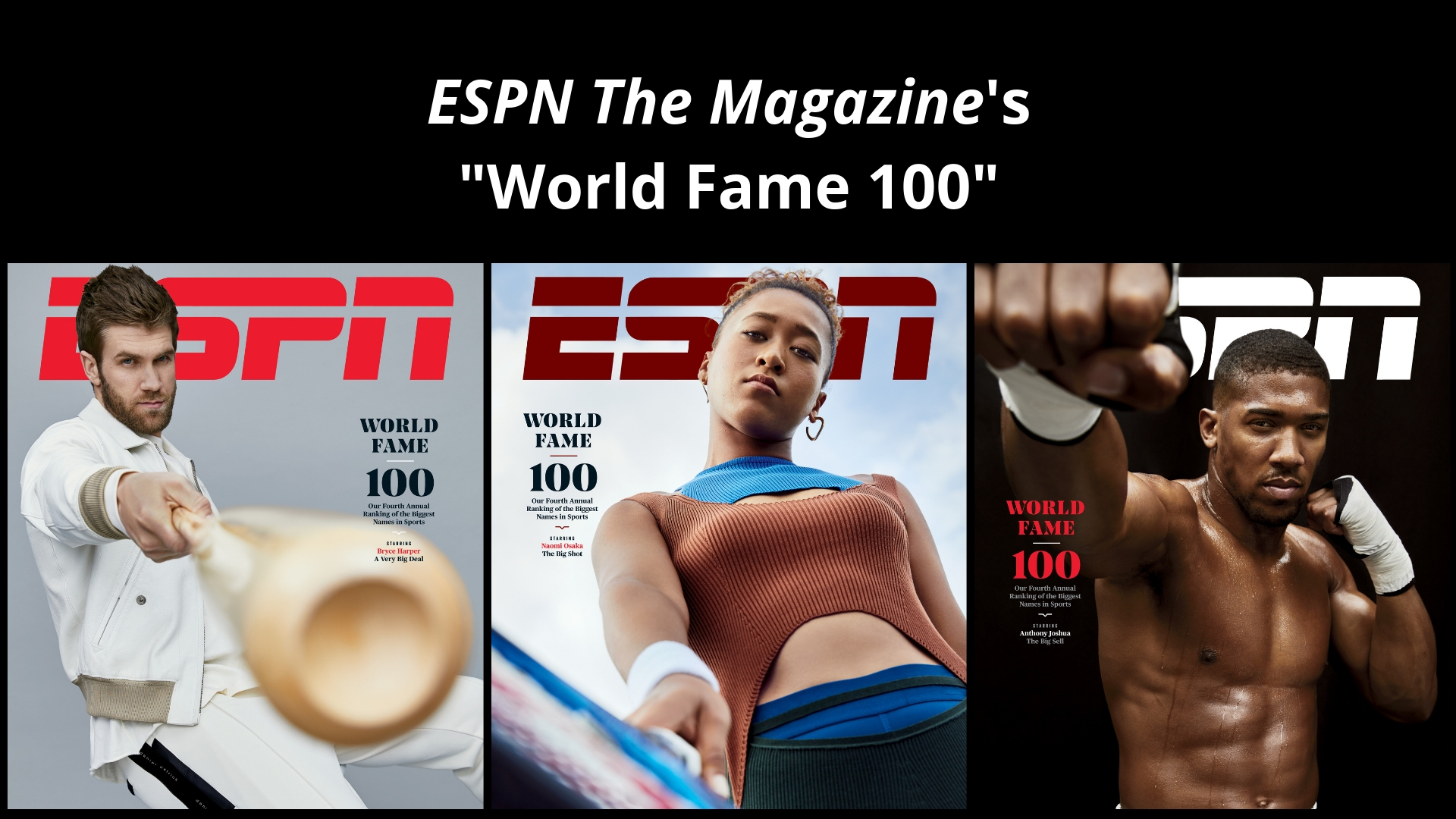 Espn The Magazine S World Fame 100 Featuring Multiple Covers With Athletes Bryce Harper Anthony Joshua And Naomi Osaka On Newsstands Friday Espn Press Room U S